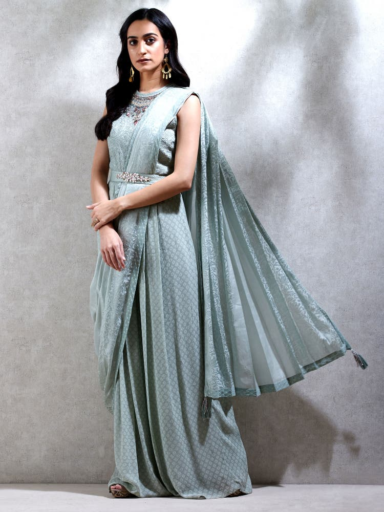 Sage Green Embroidered Pre-Draped Saree