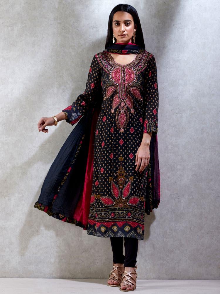 Black Embroidered Kurta Set