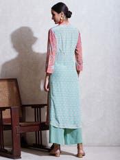 Sea Green Printed Crepe Suit Set