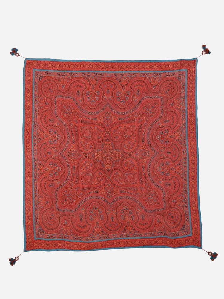 Red Printed Silk Scarf