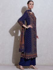 Navy & Multi Printed Suit Set