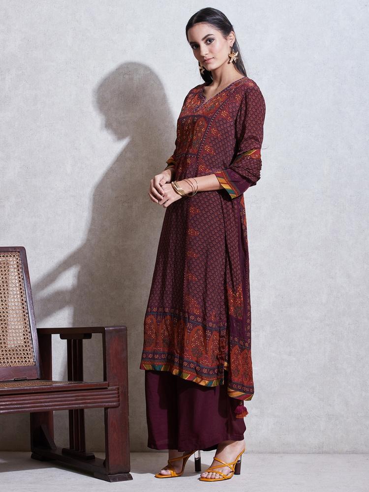 Prune & Rust Floral Print Suit Set