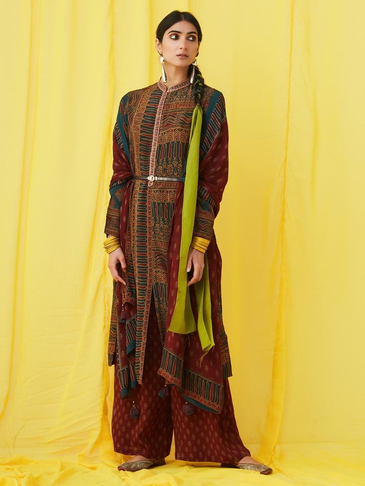 Emerald & Burgundy Goemetric Print Suit Set