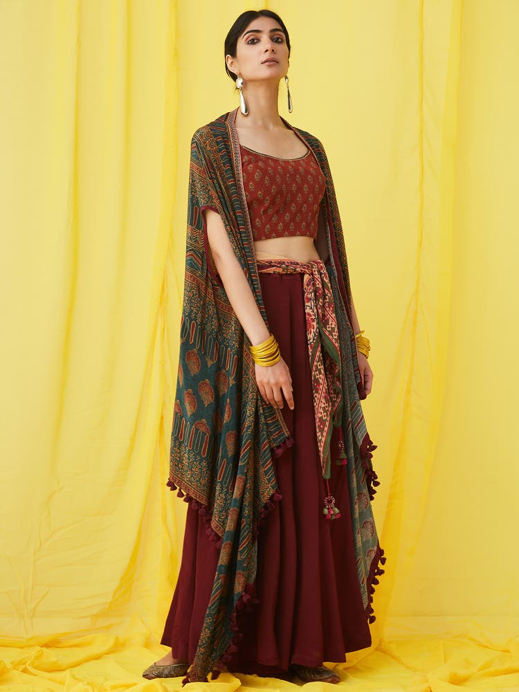 Emerald & Burgundy Goemetric Print Ensemble