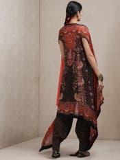Black & Red Floral Print Ensemble