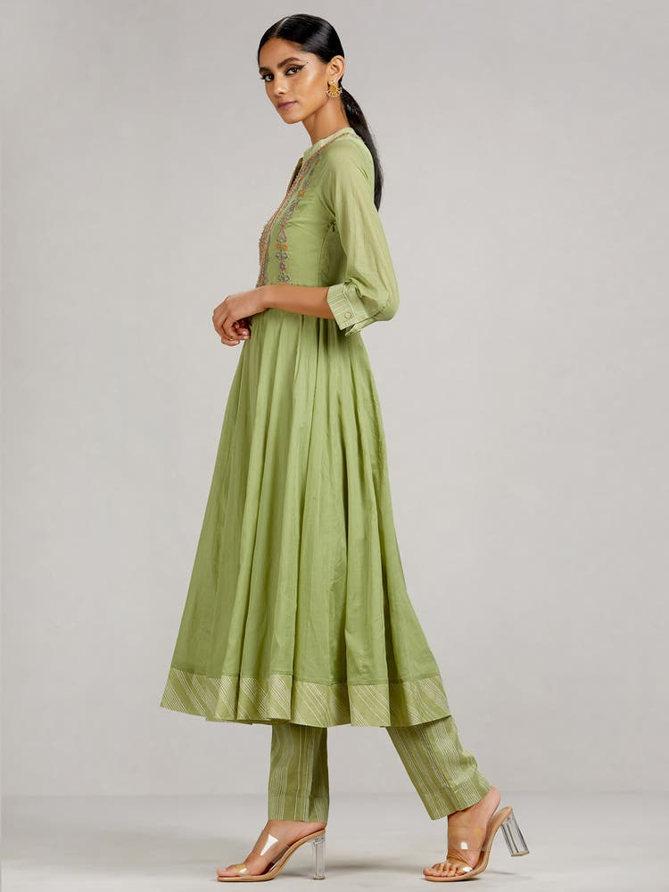 Mint Green Embroidered Anarkali Suit Set