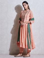 Peach Embroidered Anarkali Suit Set