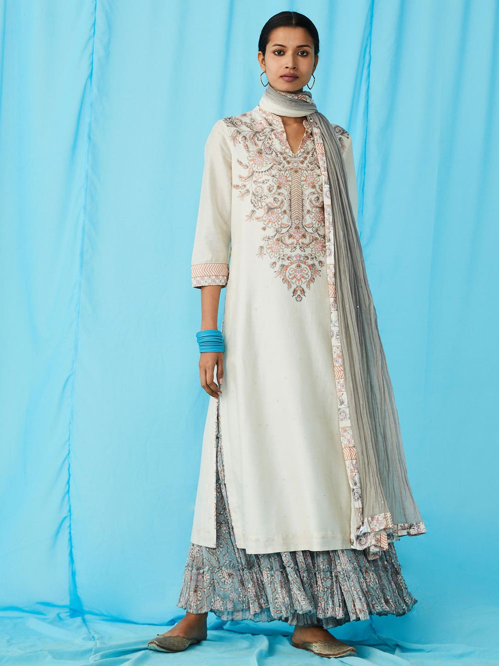 Ivory Embroidered Chanderi Suit Set