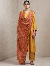 Mustard Chanderi Suit Set With Printed Dupatta