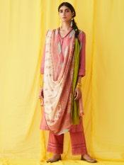 Pink Chanderi Suit Set With Printed Dupatta