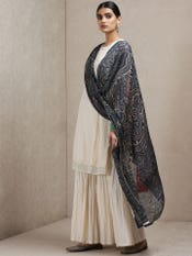 Ivory Solid Suit Set With Printed Dupatta