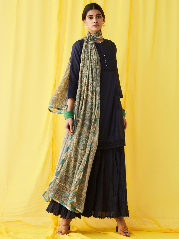 Navy Blue Solid Suit Set With Printed Dupatta