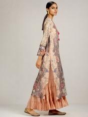 Pink Floral Print Chanderi Suit Set