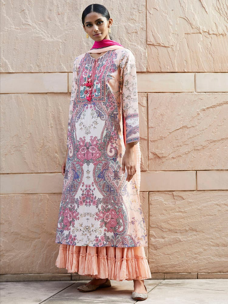 Pink Floral Print Chanderi Suit Set