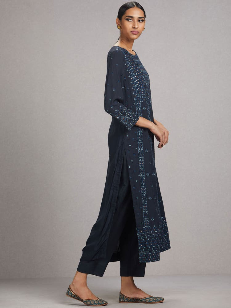 Midnight Blue Embroidered Suit Set