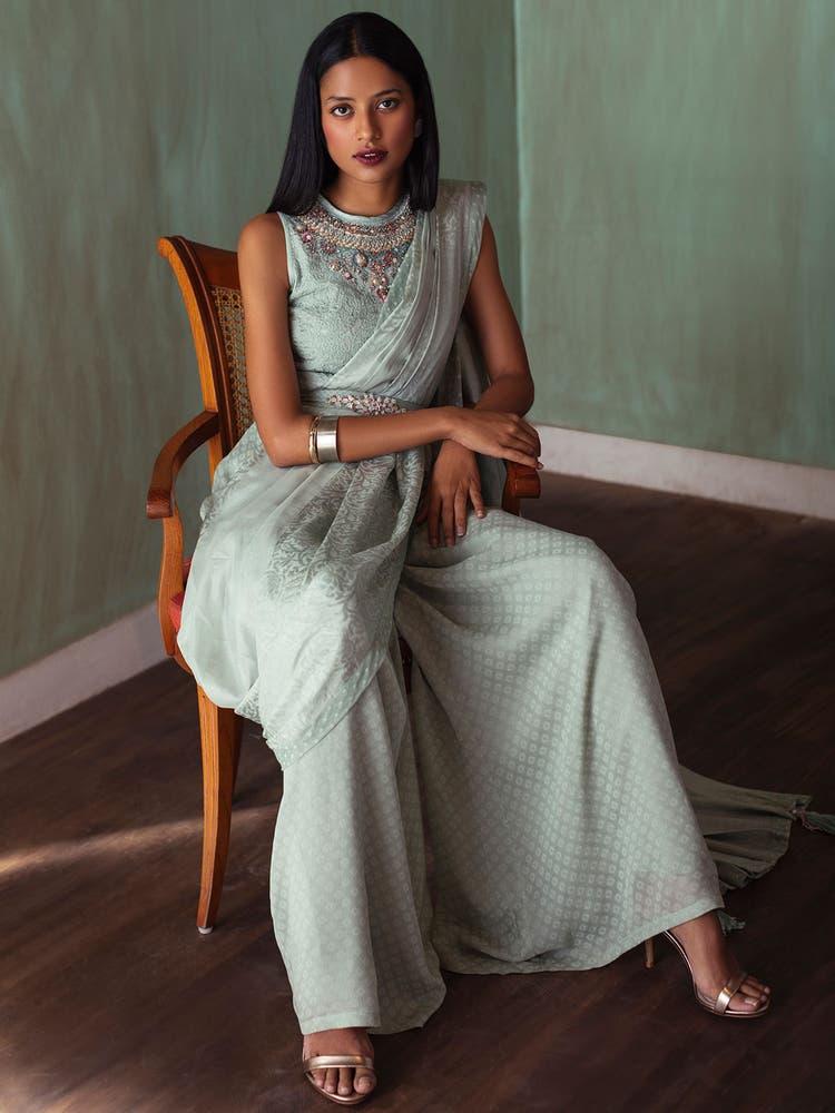 Sage Green Embroidered Pre-Draped Saree