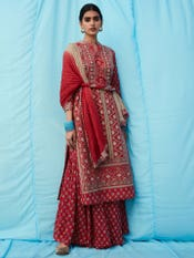 Red Embroidered Suit Set