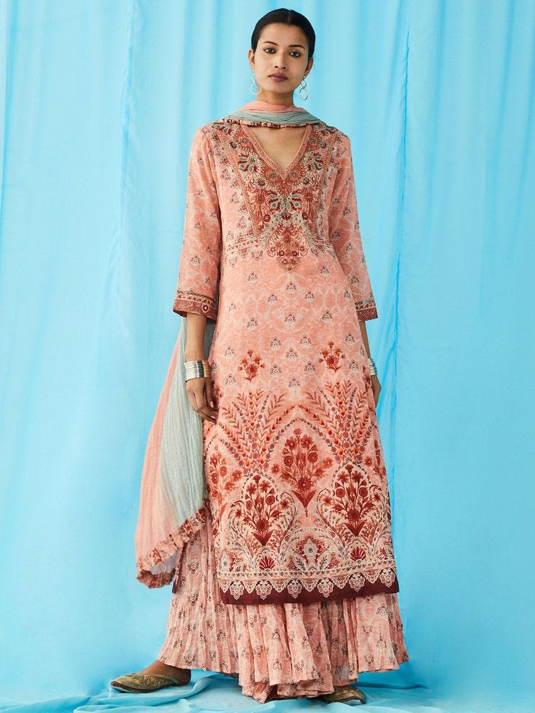 Peach Floral Print Suit Set