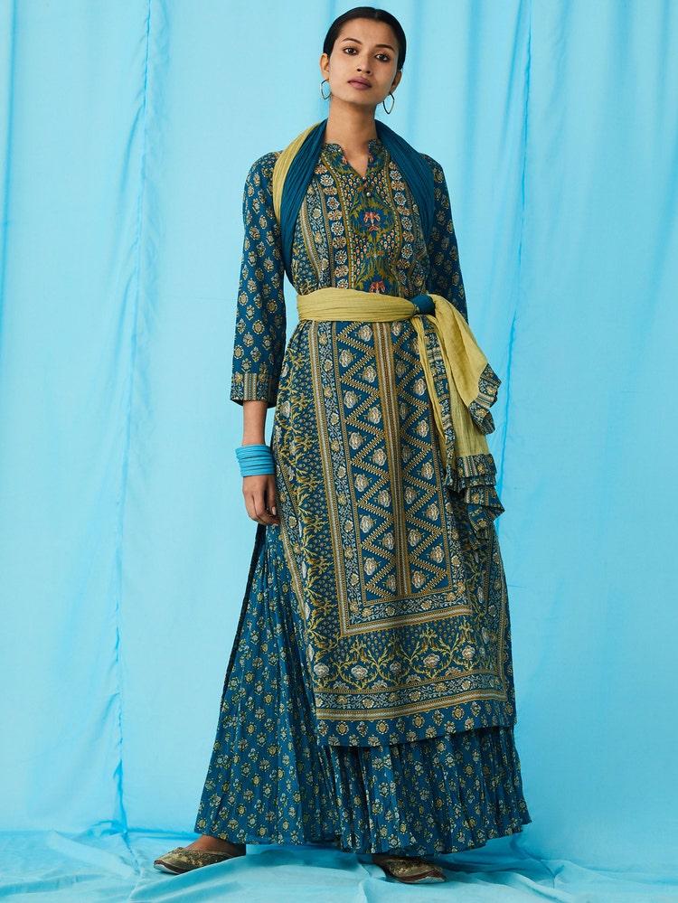 Teal Blue Embroidered Suit Set