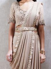 Beige Embroidered Pre-Draped Saree
