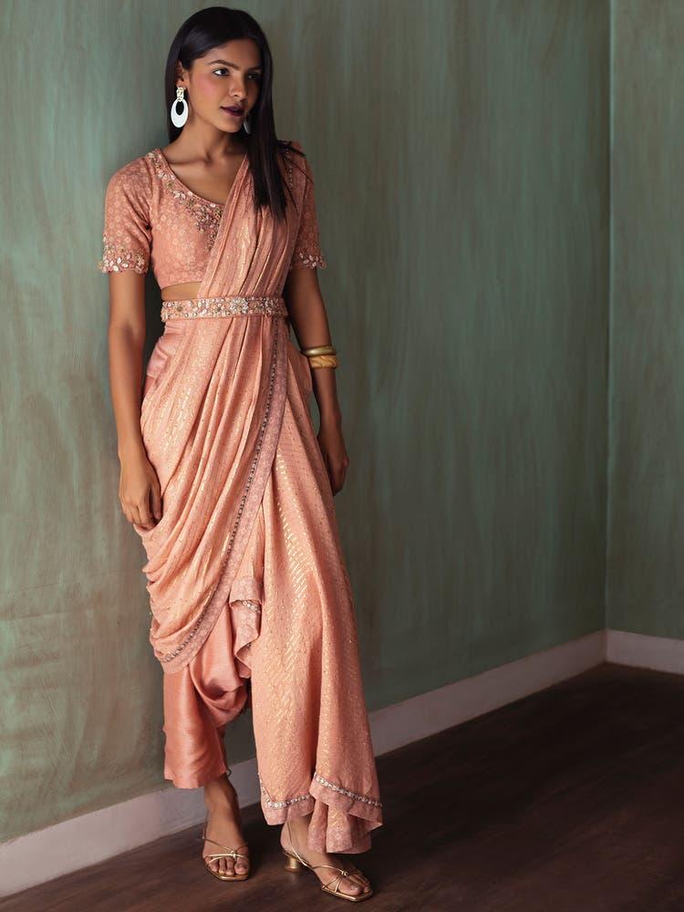 Peach Embroidered Pre-Draped Saree