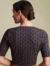 Brick Red & Indigo Geometric Print Blouse