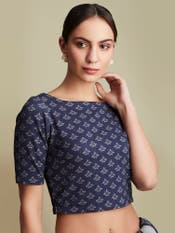 Indigo Blue Printed Blouse