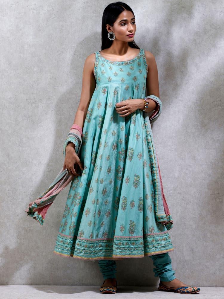 Sea Blue Floral Print Chanderi Suit Set