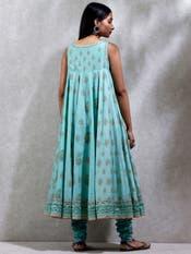 Sea Blue Floral Print Suit Set