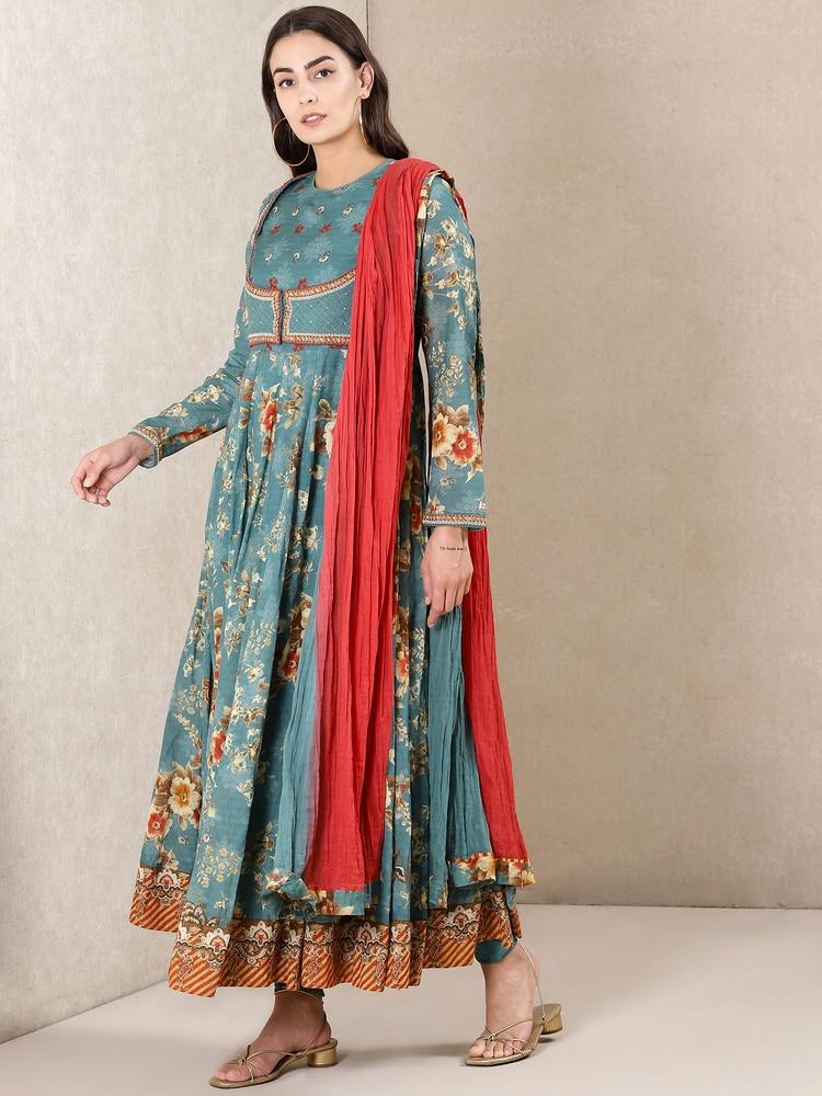 Teal Green Floral Print Anarkali Suit Set