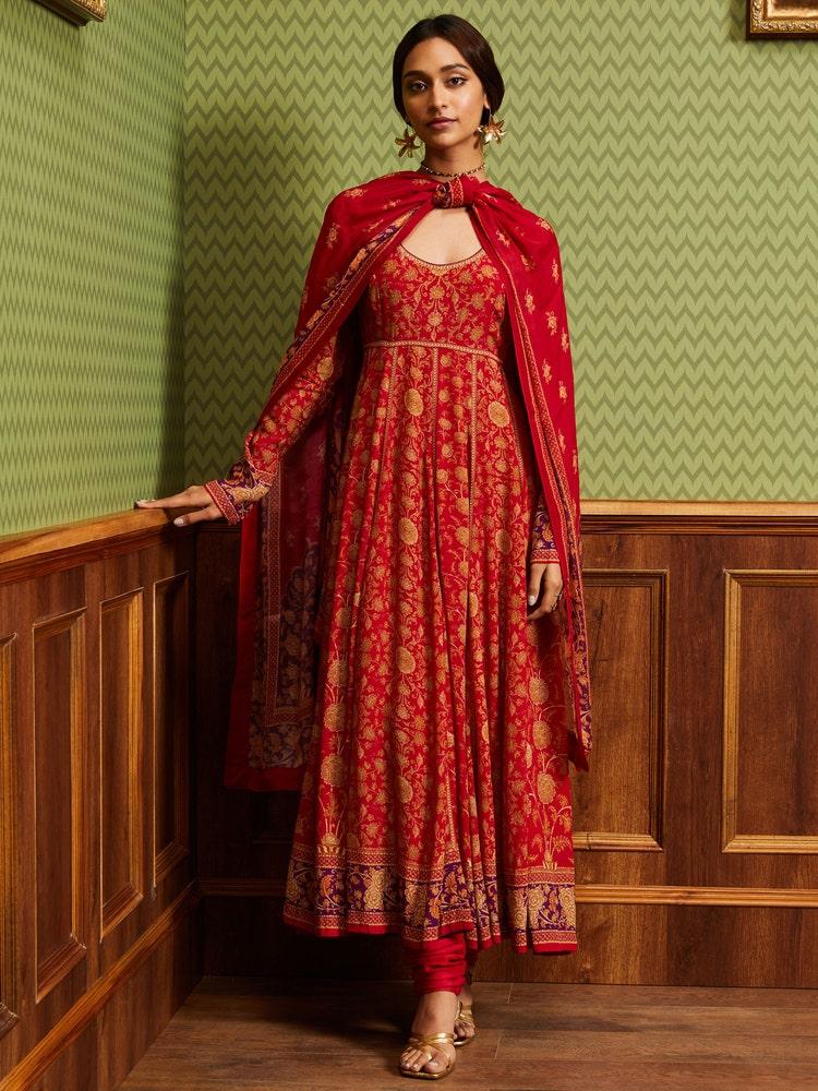 Red & Purple Floral Print Suit Set