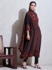 Black & Rust Printed Crepe Suit Set