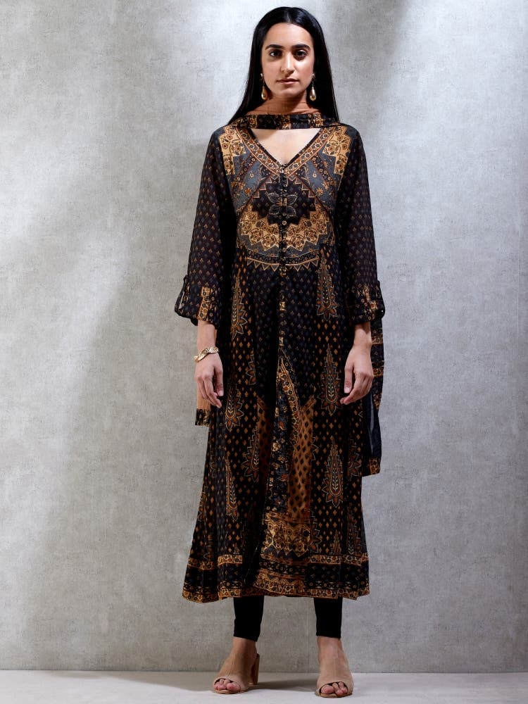 Charcoal Black & Beige Printed Suit Set