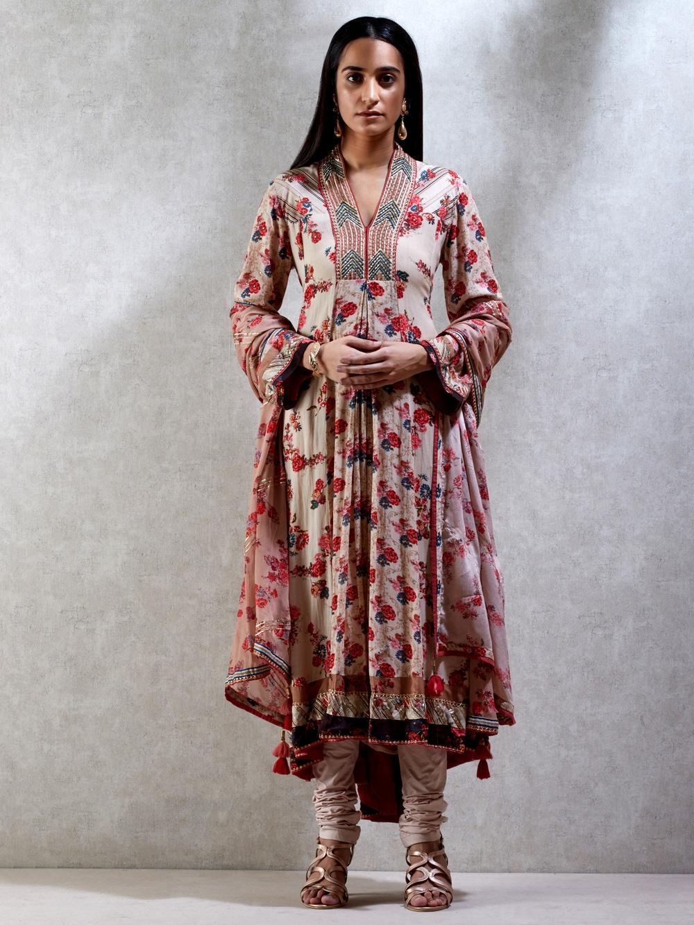 Ecru & Multi Floral Print Suit Set