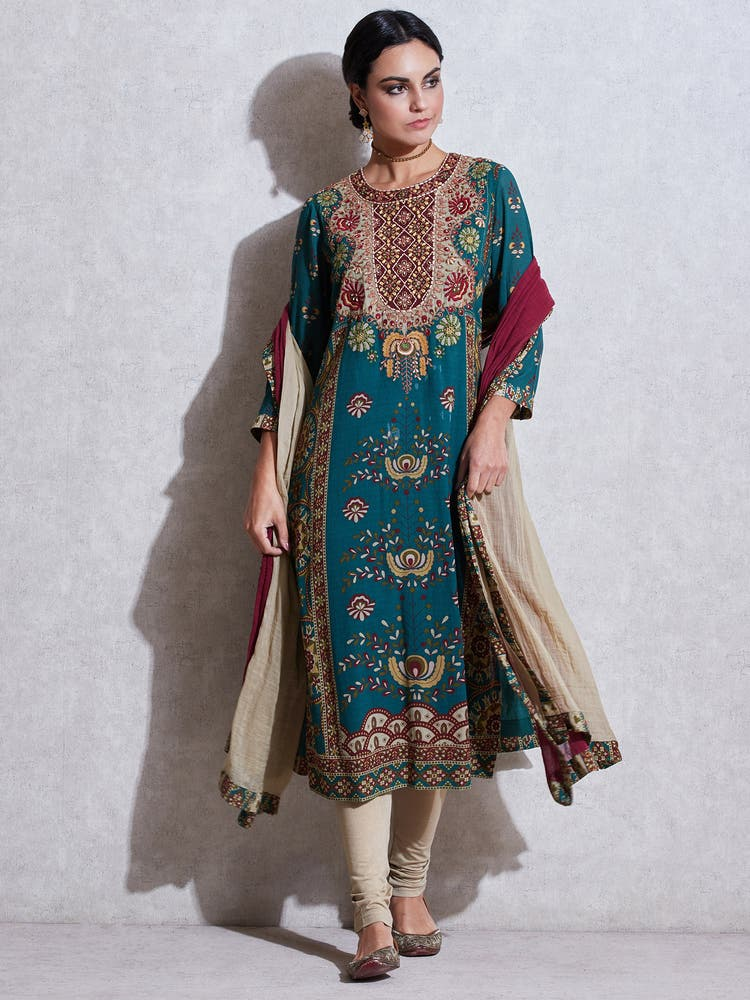 Green Embroidered Suit Set