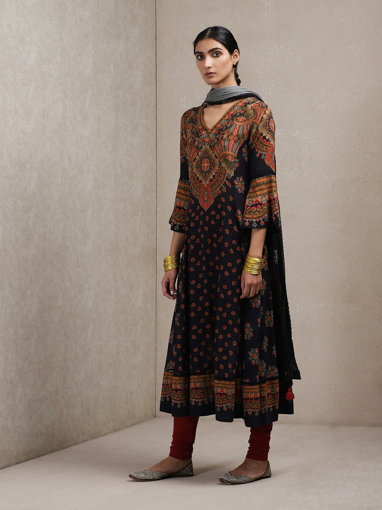 Black Paisley Print Suit Set