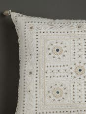 Ecru Mirror-Work Square Cushion with Filler