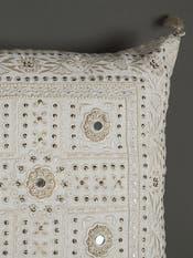 Ecru Mirror-Work Rectangle Cushion with Filler