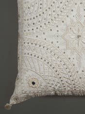 Ecru Embroidered Square Cushion with Filler