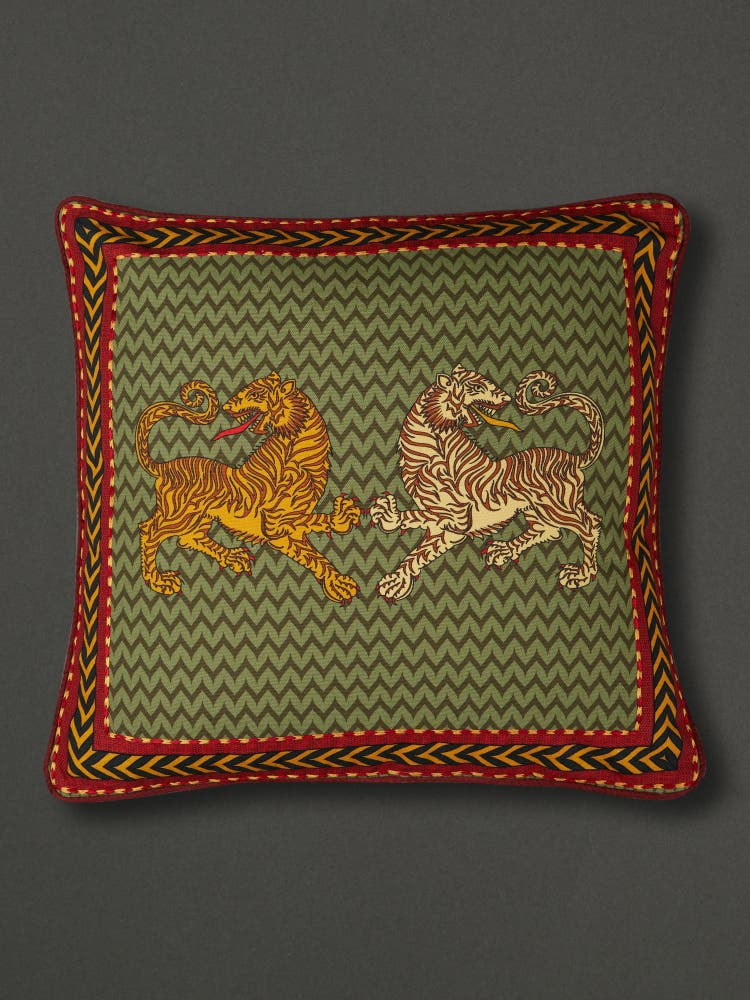 Green Baagh Square Cushion with Filler