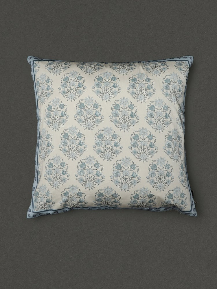 Turquoise Villa Printed Square Cushion With Filler