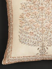 Beige Zardozi Square Cushion with Filler