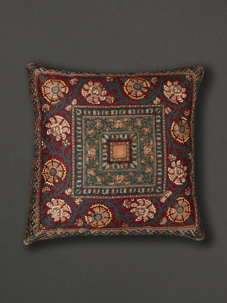 Red Kalamkari Square Cushion with Filler