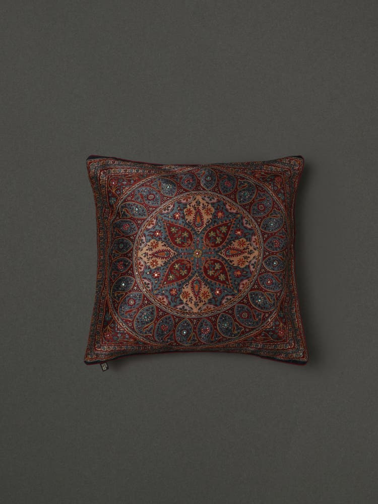 Blue Saadh Embroidered Cushion with Filler