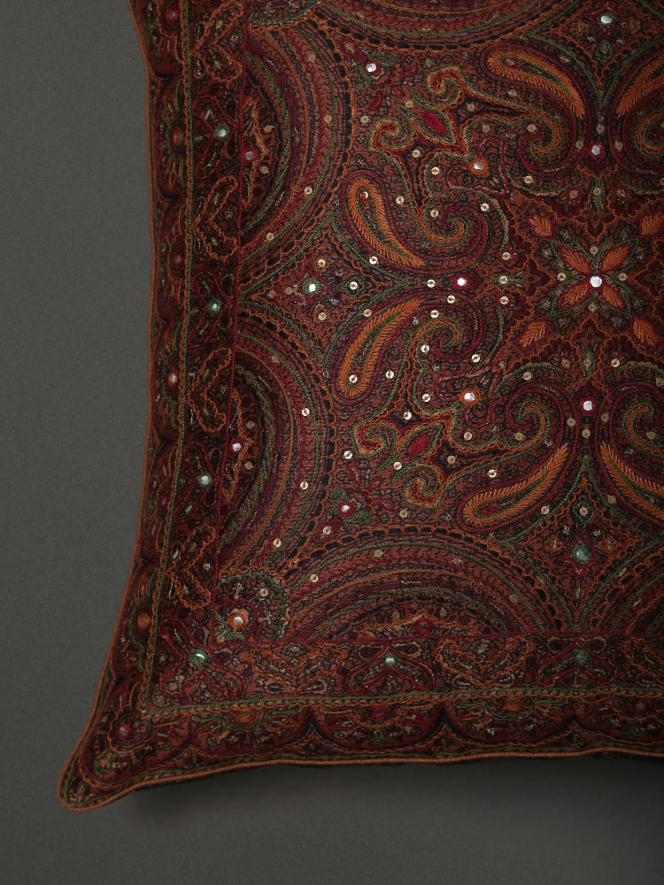 Copper Saadh Embroidered Cushion with Filler