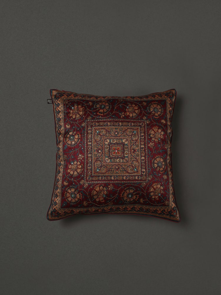 Maroon Saadh Embroidered Cushion with Filler