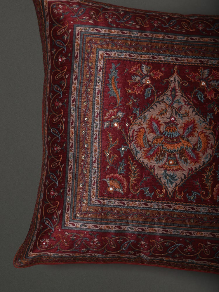 Red Saadh Embroidered Cushion with Filler