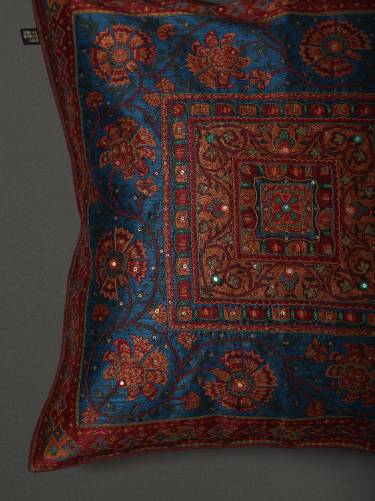 Teal Saadh Embroidered Cushion with Filler
