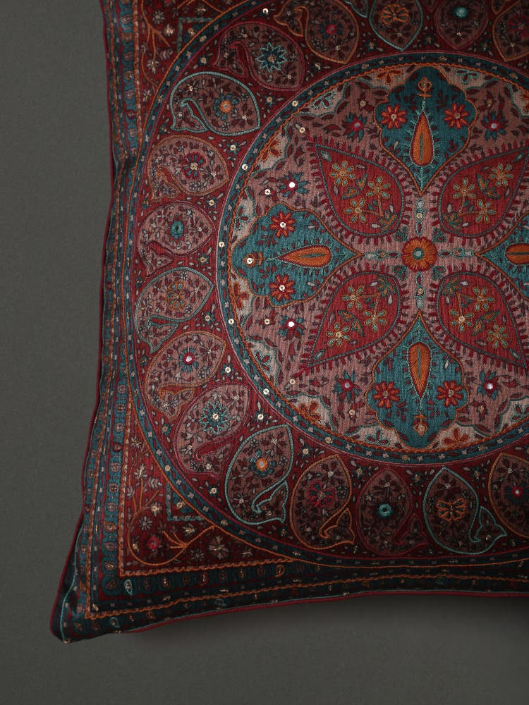 Turquoise Saadh Embroidered Cushion with Filler