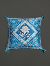 Blue Kutch Print Square Cushion with Filler